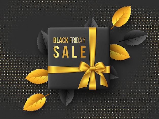 Affiche horizontale de la vente vendredi noir ou une bannière.