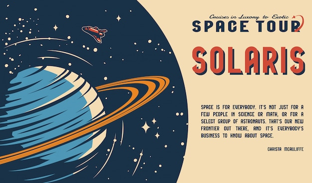 Affiche horizontale vintage de voyage spatial