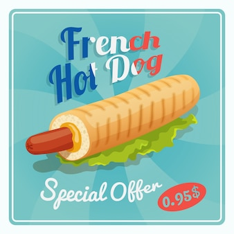 Affiche de hot-dog français