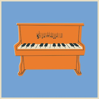 Affiche ou icône dessinée à la main de piano