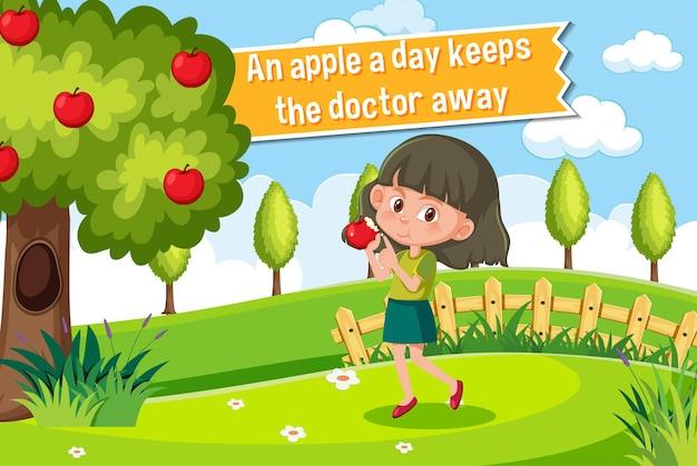 Affiche d'idiome avec une pomme par jour éloigne le médecin