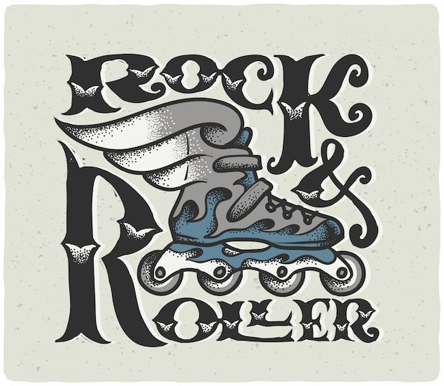 Affiche avec illustration de patin à roulettes