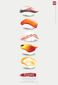 Affiche, illustration, restaurant sushi