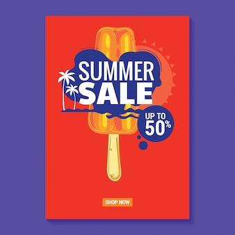 Affiche d'illustration de vente d'été avec fond de popsicle, plage et feuilles tropicales
