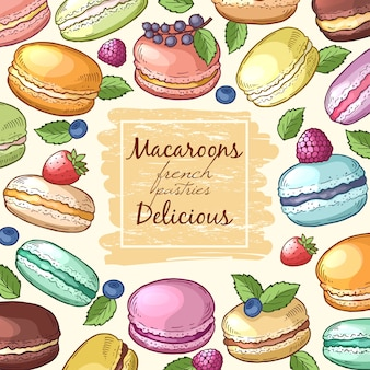 Affiche avec des illustrations colorées de macarons