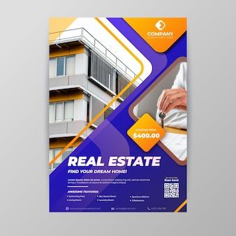 Affiche immobilière de couleur dégradée avec photo