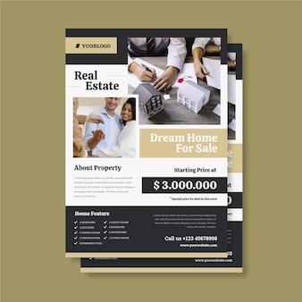 Affiche immobilière design plat avec photo prête à imprimer