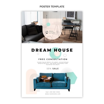 Affiche immobilière géométrique abstraite plate