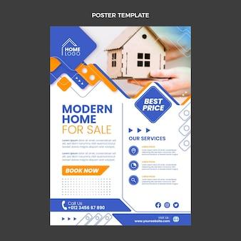 Affiche immobilière géométrique design plat