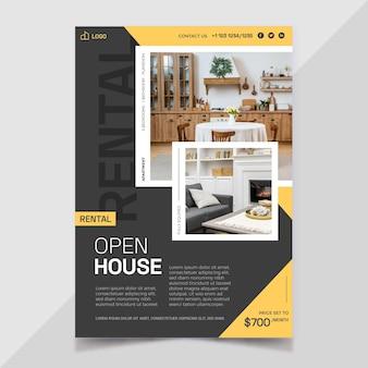 Affiche immobilière plate avec photo