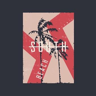 Affiche d'impression de conception de tshirt graphique sur le thème de l'illustration vectorielle de miami beach floride
