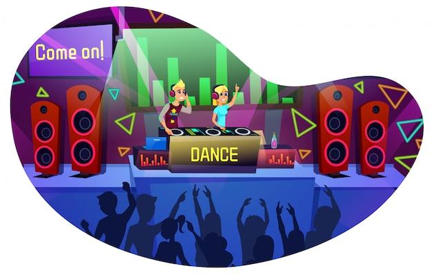 Affiche informative danse lettrage cartoon. parties à la discothèque pour un public diversifié.