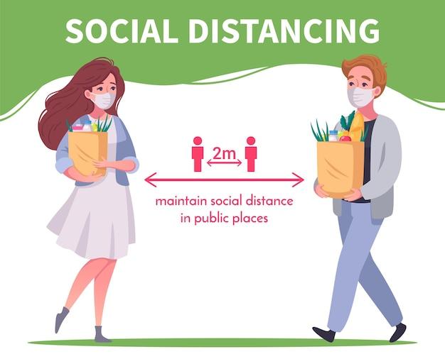Affiche informative de distanciation sociale dans les lieux publics avec des personnes portant des masques et tenant des sacs avec des produits de dessin animé