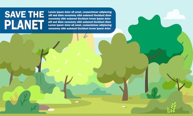 Affiche informative inscription sauvez la planète.