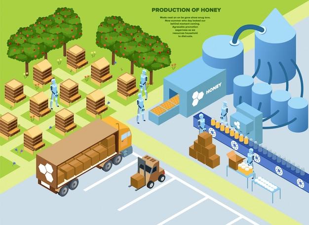 Affiche informative de production de miel isométrique.