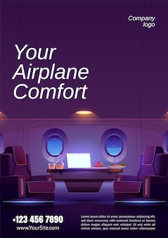Affiche de l'intérieur de luxe du jet privé avec fauteuils, table avec ordinateur portable, nourriture et boisson