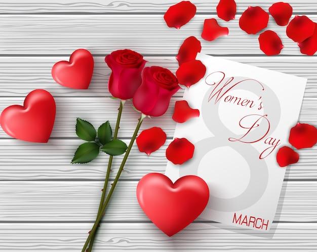 Affiche internationale de la journée de la femme avec roses et coeurs rouges