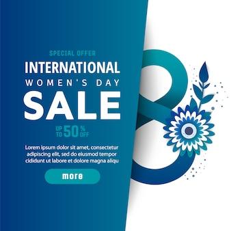 Affiche internationale de vente de la journée de la femme.