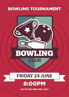 Affiche d'invitation avec emblème de logo club de bowling isolé