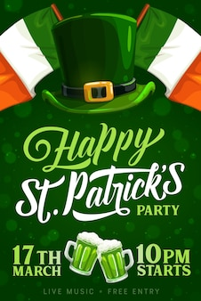 Affiche d'invitation de fête de jour de st patrick avec des drapeaux de l'irlande, chapeau de lutin avec la boucle d'or et les tasses de pinte de bière. bonne fête de la saint patrick, bar et pub, fête traditionnelle irlandaise