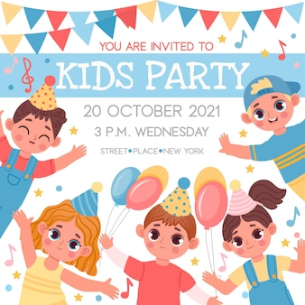 Affiche d'invitation pour anniversaire ou fête d'enfants avec des personnages de dessins animés. événement à l'école ou à la maternelle avec un modèle vectoriel heureux pour les garçons et les filles. amis joyeux se réunissant pour la célébration de l'événement
