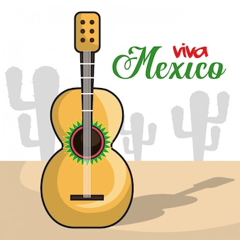 Affiche isolé musical de viva mexico instrument