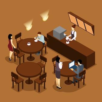 Affiche isométrique brune de serveuse barista people