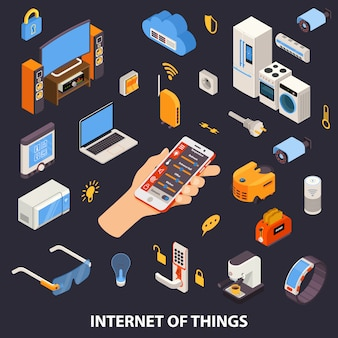 Affiche isométrique du contrôle d'internet of things
