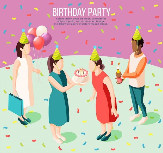 Affiche isométrique de fête d'anniversaire illustrée fille soufflant des bougies d'anniversaire et ses amis donnant des cadeaux illustration