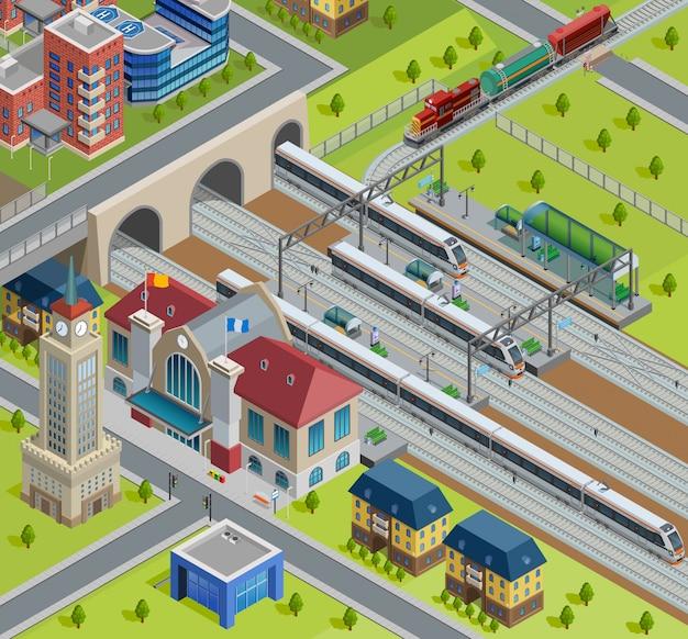 Affiche isométrique de la gare ferroviaire