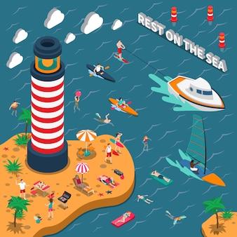 Affiche isométrique de gens de sports nautiques