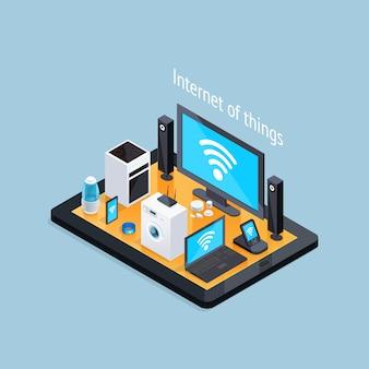 Affiche isométrique de l'internet des objets