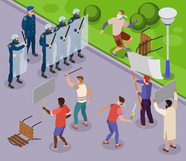 Affiche isométrique de militants