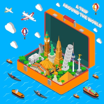 Affiche isométrique des monuments du monde dans la valise