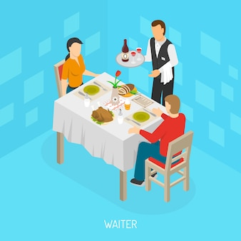 Affiche isométrique de serveur servant des clients