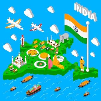 Affiche isométrique touristique de carte de l'inde
