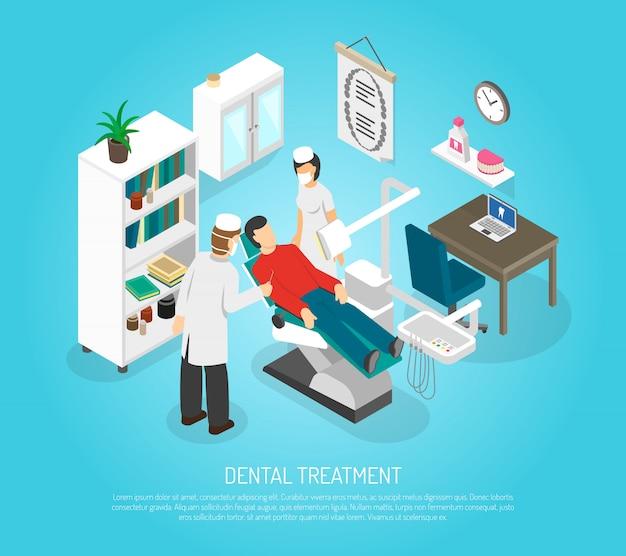 Affiche isométrique de traitement de procédure de examens dentaires
