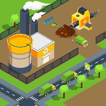 Affiche isométrique de l'usine de recyclage