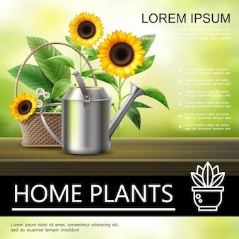 Affiche de jardinage réaliste avec arrosoir en métal, tournesols et camomille dans le panier sur floue