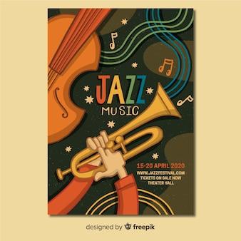 Affiche de jazz abstrait dessiné main modèle