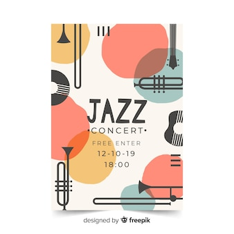 Affiche de jazz modèle dessiné main abstraite