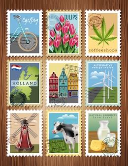 Affiche de jeu de timbres de voyage de hollande