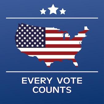 Affiche de la journée des élections américaines avec drapeau sur la carte