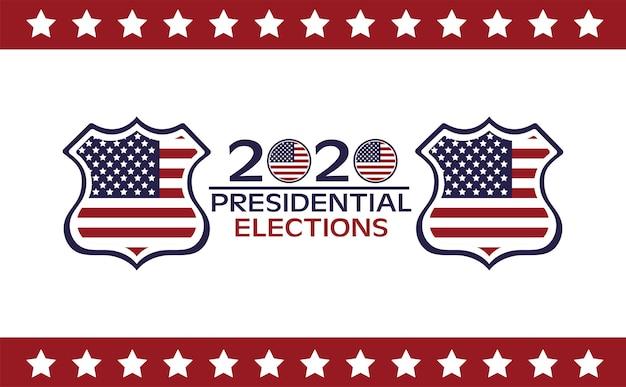 Affiche de la journée des élections américaines avec drapeau dans les boucliers et le lettrage