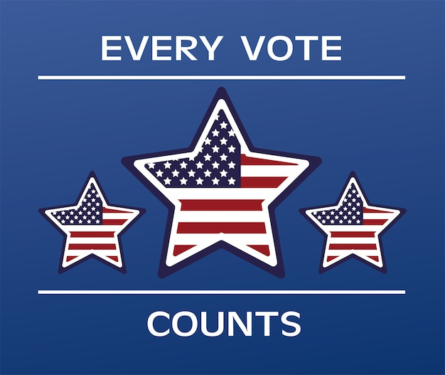 Affiche de la journée des élections américaines avec drapeau et étoiles