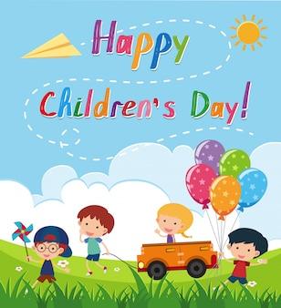 Affiche de la journée des enfants heureux avec les enfants dans le parc