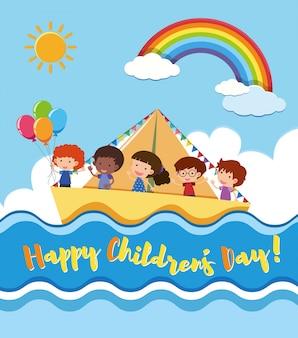 Affiche de la journée des enfants heureux avec enfants voile