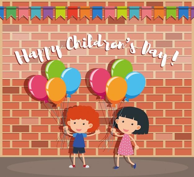 Affiche de la journée des enfants heureux avec garçon et fille sur la rue