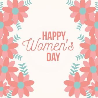 Affiche de la journée de la femme heureuse avec des fleurs