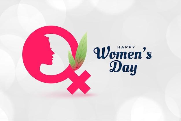 Affiche de la journée de la femme heureuse avec visage et symbole féminin